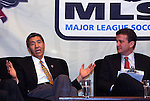 17 November 2007: DC United co-managing partner William H.C. Chang (l) with DC United broadcaster Dave Johnson (r). The Screaming Eagles, a DC United fan group, hosted the 2007 Supporters Summit, held at Babylon Futbol Club in Falls Church, Virginia one day before MLS Cup 2007, Major League Soccer's championship game.