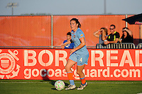 Kendall Fletcher (4) of Sky Blue FC. The Western New York Flash defeated Sky Blue FC 4-1 during a Women's Professional Soccer (WPS) match at Yurcak Field in Piscataway, NJ, on July 30, 2011.