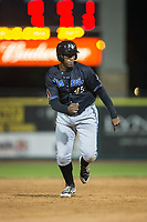 Francis Martinez (45) of the Missoula Osprey takes off for third base against the Billings Mustangs at Dehler Park on August 21, 2017 in Billings, Montana.  The Osprey defeated the Mustangs 10-4.  (Brian Westerholt/Four Seam Images)