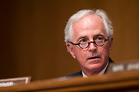 United States Senator Bob Corker (Republican of Tennessee) during a Senate Banking and Finance Committee hearing on Capitol Hill in Washington, D.C. on November 1st, 2017. <br />