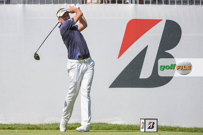 Ian Poulter (GBR) watches his tee shot on 10 during 3rd round of the World Golf Championships - Bridgestone Invitational, at the Firestone Country Club, Akron, Ohio. 8/4/2018.<br /> Picture: Golffile | Ken Murray<br /> <br /> <br /> All photo usage must carry mandatory copyright credit (© Golffile | Ken Murray)