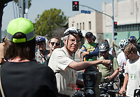 Robert Gottlieb, Professor of Urban & Environmental Policy, Director of the Urban & Environmental Policy Institute. Occidental College hosts New York City Transportation Commissioner Janette Sadik-Khan '82 as she takes a bicycle tour of the neighborhood to a Metro station in Highland Park on Friday, March 19, 2010. President Jonathan Veitch, students, faculty and the public took part. (Photo by Marc Campos, Occidental College Photographer)