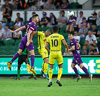 7th February 2020; HBF Park, Perth, Western Australia, Australia; A League Football, Perth Glory versus Wellington Phoenix; Alexander Grant of the Perth Glory wins the clearing header