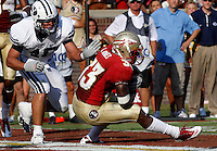 TALLAHASSEE, FL 9/18/10-FSU-BYU FB10 CH-Florida State's Ty Jones makes a touchdown catch in front of  Brigham Young's Jameson Frazier during second half action Saturday at Doak Campbell Stadium in Tallahassee. The Seminoles beat the Cougars 34-10.<br /> COLIN HACKLEY PHOTO