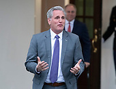 Incoming United States House Minority Leader Kevin McCarthy (Republican of California) walks out of the West Wing to meet reporters at the White House after meeting with US President Donald J. Trump on border security and reopening the federal government at the White House in Washington, DC on Wednesday, January 2, 2018.  Incoming US House Minority Whip Steve Scalise (Republican of Louisiana) can be seen in the background.<br /> Credit: Ron Sachs / CNP