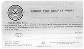 """Order for Secret Work"" form of Switchman's Union of North America.  Blank, not filled out."