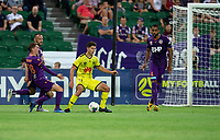 7th February 2020; HBF Park, Perth, Western Australia, Australia; A League Football, Perth Glory versus Wellington Phoenix; Tom Doyle of Wellington Phoenix crosses the ball into Wellington's box