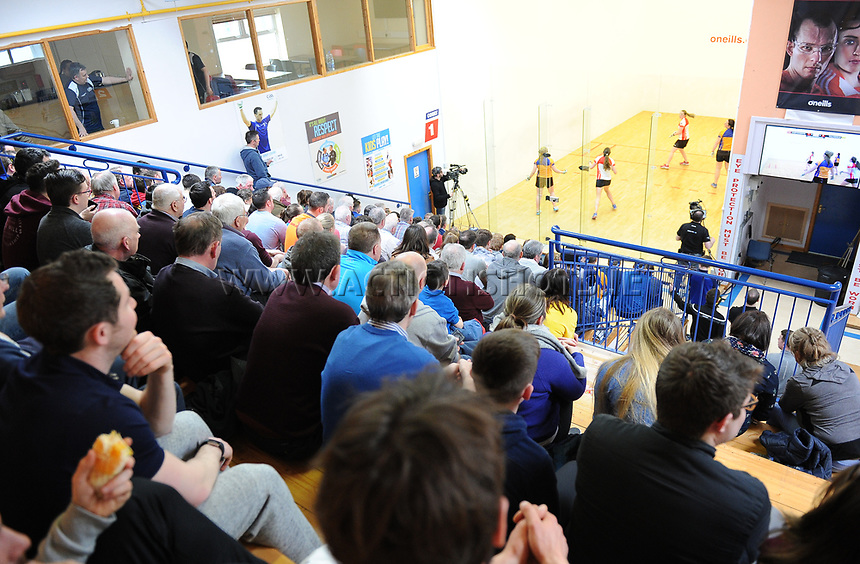 07/04/2018; GAA Handball O&rsquo;Neills 40x20 Championship Ladies Senior Final - Cork (Catriona Casey/Aisling O&rsquo;Keeffe) v Roscommon (Fiona Tully/Leona Doolin); Kingscourt, Co Cavan;<br /> General view of spectators during the match<br /> Photo Credit: actionshots.ie/Tommy Grealy