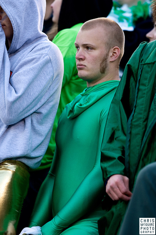 10/17/09 - South Bend, IN:  A Notre Dame fan looks cold and sad during their game against USC at Notre Dame Stadium on Saturday.  USC won the game 34-27 to extend its win streak over Notre Dame to 8 games.  Photo by Christopher McGuire.