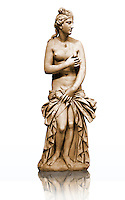 Greek Classical Period Statue of Aphrodite made of Parian marble. Restored by the famous Italian Sculptor A. Canova ( 1757 - 1822 ), Aphrodite is standing nude apart from a richly draped himation which she retains with her left hand in front of her pudenda. 4th c. BC. Athens National Archaeological Museum cat No 3524, from the collection of Lord Hope, donated by M. Embeirikos in 1924.<br /> This statue of Aphrodite is a variant of the Aphrodite (Venus) of Cnidus and is a copy of a 2nd century AD copy of a 4th century  original by the ancient Greek sculptor Praxiteles of Athens. As with the Capitaline Venus, Aphrodite is rising from bathing and is covering her breasts with her right hand, unlike the other known variants of this pose the Aphrodite of the Athens museum is covered from the waste down with a drape.