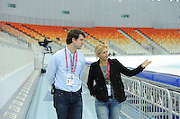 SPEEDSKATING: SOCHI: Adler Arena, 19-03-2013, Training, Jildou Gemser (Member ISU Technical Committee Speed Skating), © Martin de Jong