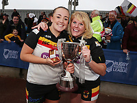 Picture by Paul Currie/SWpix.com - 07/10/2017 - Rugby League - Women's Super League Grand Final - Bradford Bulls v Featherstone Rovers - Regional Arena, Manchester, England - Jess Courtman of Bradford Bulls and Charlene Henegan celebrate with the trophy
