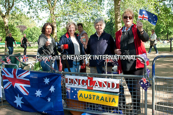 """PRINCE WILLIAM AND CATHERINE MIDDLETON WEDDING.Royal fans stack out prime positions for the event_28/04/2011..From Left: Astid Moncada from Columbia who became a British citizen on the 26/4/2011, Jill Garney 70 of Victoria Australia, Sherley Messilger of Hampshire and Margaret Tinsley 69 of Australia.Mandatory Credit Photo: ©Dias/NEWSPIX INTERNATIONAL..**ALL FEES PAYABLE TO: """"NEWSPIX INTERNATIONAL""""**..IMMEDIATE CONFIRMATION OF USAGE REQUIRED:.Newspix International, 31 Chinnery Hill, Bishop's Stortford, ENGLAND CM23 3PS.Tel:+441279 324672; Fax: +441279656877.e-mail: info@newspixinternational.co.uk"""