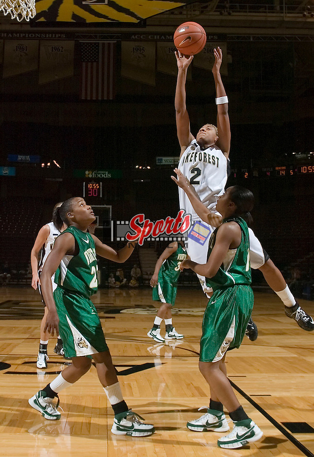 Alex Tchangoue (2) of the Wake Forest Demon Deacons drives to the basket during first half action versus the Wright State Raiders at the LJVM Coliseum on December 5, 2007 in Winston-Salem, NC.