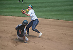 30 MAY 2016: Emily Quartrale (2) of Messiah College looks to turn a double play against University of Texas-Tyler in the first game of the Division III Women's Softball Championship held at the James I Moyer Sports Complex in Salem, VA.  University of Texas-Tyler defeated Messiah College 7-0 for the national title. Don Petersen/NCAA Photos