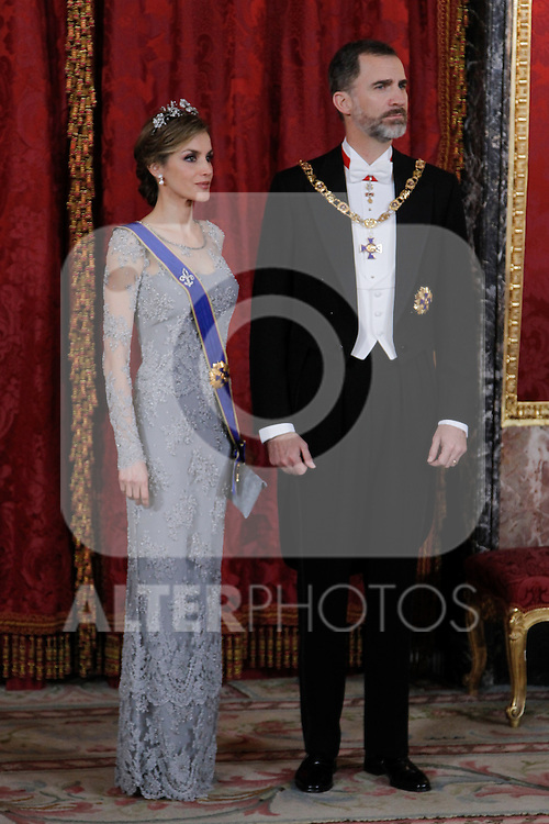 Spanish Royals host a dinner for the Colombian President Juan Manuel Santos and his wife Maria Clemencia Rodriguez in Madrid, Spain. In the pic: Queen Letizia of Spain and King Felipe VI of Spain. March 02, 2015. (Jose Luis Cuesta/POOL/ALTERPHOTOS)