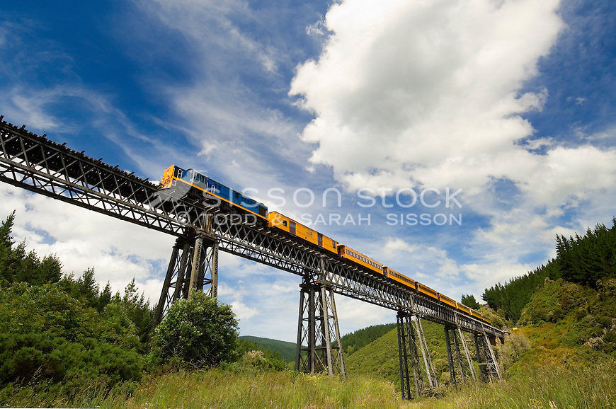 The historic Taieri Gorge Railway train crosses the Wingatui Viaduct, Otago