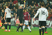 Manuel Lanzini of West Ham United Receives a Yellow Card during West Ham United vs Fulham, Premier League Football at The London Stadium on 22nd February 2019