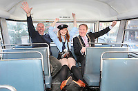 "NO FEE. 20/10/2010. Vintage CIE Double Decker Bus Makes One Last Stop . Beautiful 'conductor' Jane Kendlin, The Lord Mayor, Cllr Gerry Breen and Dublin based bus enthusiast Ed O'Neil are pictured in full conductor's uniform to mark the launch of two new books on CIE Buses in the 1970's and 1980's, a vintage CIE double decker bus, outside the Mansion House on Dawson Street, Dublin.he coffee table books have been published by PRC Publications, a new transport publications company based in Dublin, and feature a miscellany of photographs of Irish buses and street scenes in both rural and urban locations, taken by Ed O'Neill from mid 1970 to mid 1980. A self-confessed ""bus nut"", O'Neill has compiled the two books which will appeal to both enthusiasts and the general public alike. Urban street scenes, including traffic on Dublin's Grafton Street, will remind readers of a time long gone when traffic regulations were far more relaxed and beautiful buildings stood tall, many of which are sadly no longer in existence. The books, 'CIE Buses in the 1970s and 80s - Double Deckers' and 'CIE Buses in the 1970s and 80s - Single Deckers' are priced at EUR25.00 per book (or both books for EUR45.00) and are available from Mark's Models branches or online at www.prcpublications.com. Picture James Horan/Collins Photos"