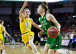 SIOUX FALLS, SD - MARCH 7: Megan Zander #22 of the North Dakota Fighting Hawks drives to the hoop against the South Dakota State Jackrabbits at the 2020 Summit League Basketball Championship in Sioux Falls, SD. (Photo by Richard Carlson/Inertia)