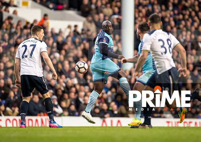 Adebayo Akinfenwa of Wycombe Wanderers during the FA Cup 4th round match between Tottenham Hotspur and Wycombe Wanderers at White Hart Lane, London, England on the 28th January 2017. Photo by Liam McAvoy.