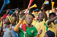 South Africa fans cheer with their vuvuzuela's during the 2010 World Cup first round match of Ghana vs. Serbia at Loftus Versfeld Stadium in Pretoria, South Africa on Saturday, June 12, 2010.