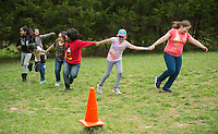 NWA Democrat-Gazette/BEN GOFF @NWABENGOFF<br /> Fourth graders from Brighton Park school in Chicago play during a break Friday, April 13, 2018, at Ozark Natural Science Center near Huntsville. The 4th grade students from Brighton Park, a public charter school, are visiting for a five day immersive environmental education program.