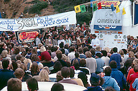 Bells Beach, Torquay, Victoria, Australia. The presentation of the Rip Curl Bells Beach Easter Classic 1981 with  Rod Brooks (AUS), Quiksilver founder John Law (AUS) and Surfing Australia's Alan Atkins (AUS), ..Photo: joliphotos