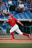 Clearwater Threshers third baseman Jan Hernandez (3) follows through on a swing during a game against the Dunedin Blue Jays on April 7, 2017 at Spectrum Field in Clearwater, Florida.  Dunedin defeated Clearwater 7-4.  (Mike Janes/Four Seam Images)