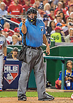 7 October 2016: MLB Umpire Dan Bellino calls a strike at home plate during the NLDS Game 1 between the Los Angeles Dodgers and the Washington Nationals at Nationals Park in Washington, DC. The Dodgers edged out the Nationals 4-3 to take the opening game of their best-of-five series. Mandatory Credit: Ed Wolfstein Photo *** RAW (NEF) Image File Available ***