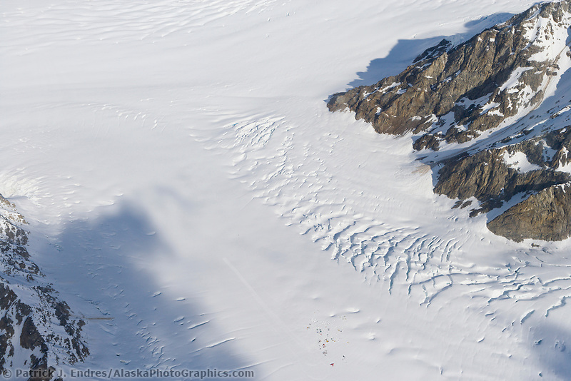 Kahiltna glacier and mountaineering base camp, Denali, Denali National Park, Alaska
