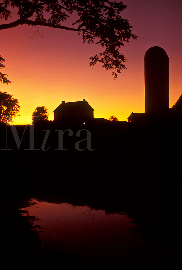 AJ3026, amish, Amish country, farm, Lancaster County, Pennsylvania, silhouette, Pennsylvania Dutch Country, A silhouette of an Amish farm at sunset in Lancaster in the state of Pennsylvania.