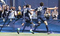 Andy Riemer #20 and Henry Tembon #21 of Georgetown University after Andy Riemer #20 had scored during an NCAA match against Michigan State at North Kehoe Field, Georgetown University on September 5 2010 in Washington D.C. Georgetown won 4-0.