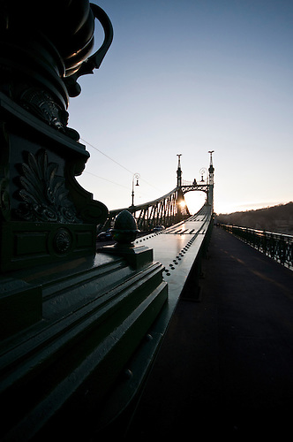 Budapest in winter,eveing sunset.