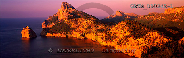 Tom Mackie, LANDSCAPES, panoramic, photos, Evening Light on Formentor Coastline, Mallorca, Spain.., GBTM050242-1,#L#