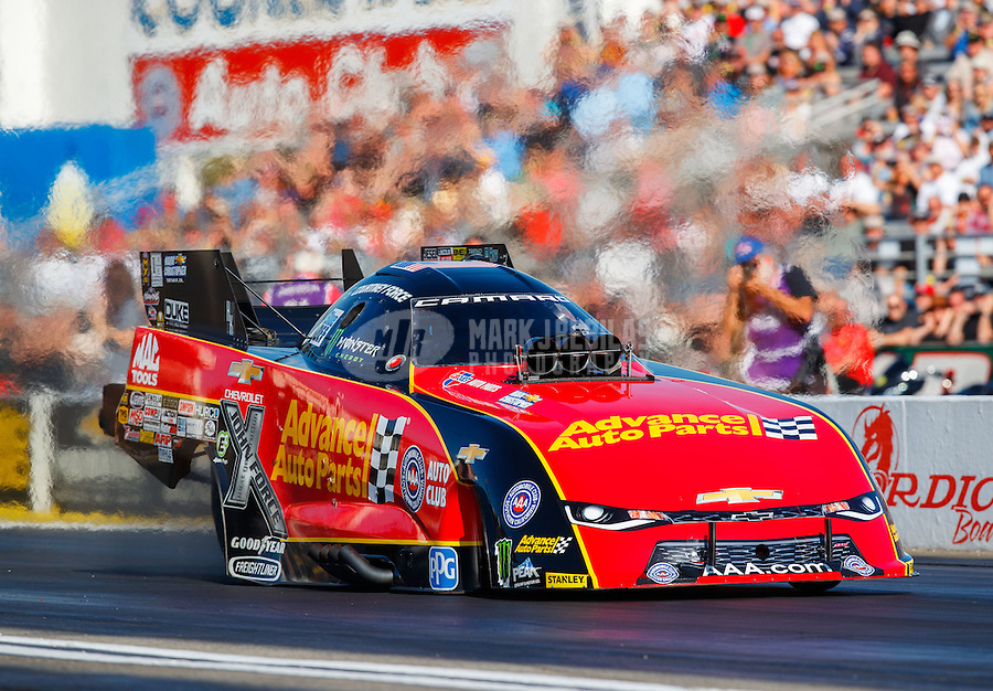 Feb 12, 2017; Pomona, CA, USA; NHRA funny car driver Courtney Force during the Winternationals at Auto Club Raceway at Pomona. Mandatory Credit: Mark J. Rebilas-USA TODAY Sports