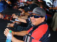 Jun 5, 2015; Englishtown, NJ, USA; NHRA funny car driver Cruz Pedregon during qualifying for the Summernationals at Old Bridge Township Raceway Park. Mandatory Credit: Mark J. Rebilas-