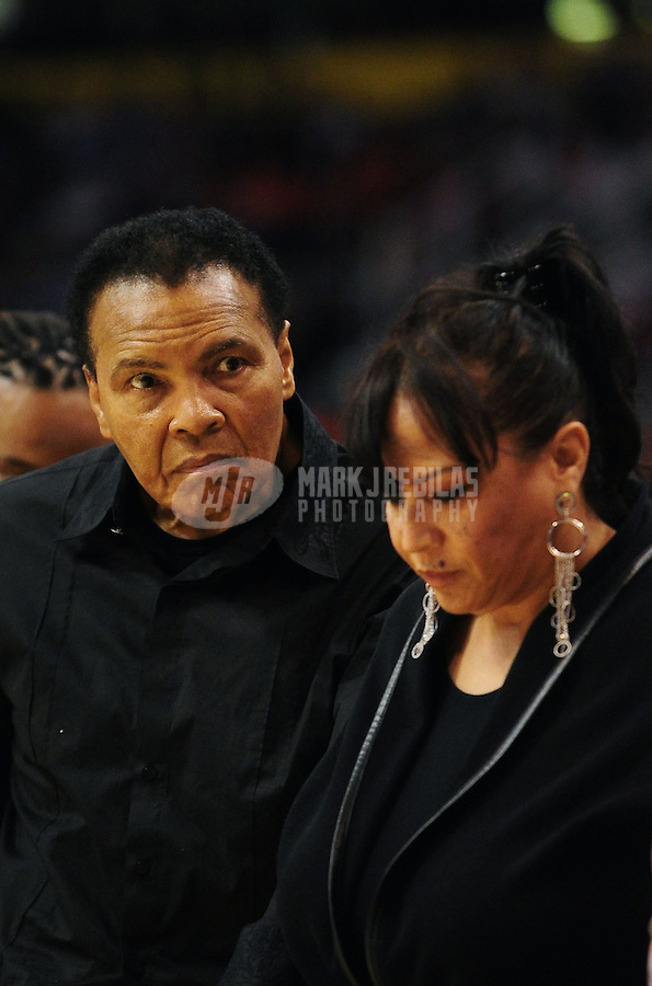 Dec. 23, 2010; Phoenix, AZ, USA; Former boxing champion Muhammad Ali (left) and Yolanda Ali in attendance during the game between the Phoenix Suns against the Miami Heat at the US Airways Center. Miami defeated Phoenix 95-83. Mandatory Credit: Mark J. Rebilas-
