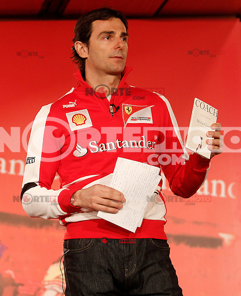 The test driver for Ferrari Pedro de la Rosa with the book 'Coach: Lessons on the Game of Life' of Michael Lewis during the gala Santander  Karting Champions 2012..(Alterphotos/Acero) NortePhoto
