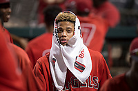 Los Angeles Angels 2018 first round draft pick, Jordyn Adams (21), during an Arizona League game against the AZL Diamondbacks at Tempe Diablo Stadium on June 27, 2018 in Tempe, Arizona. AZL Angels defeated the AZL Diamondbacks 5-3. (Zachary Lucy/Four Seam Images)