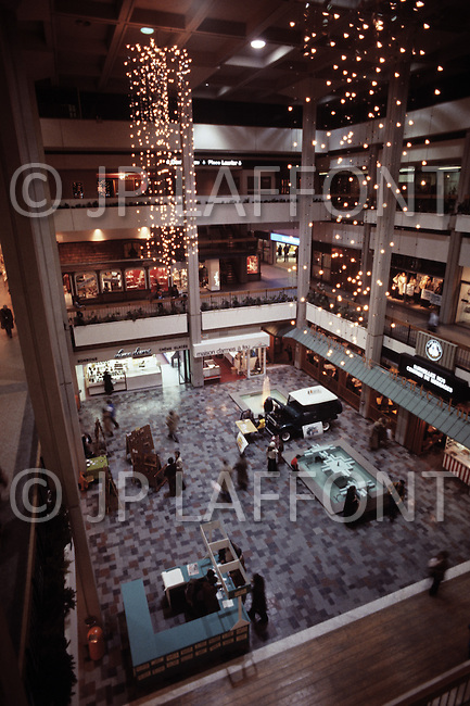 Montreal, Canada, March 1978. The most modern shopping center in Montreal: The Garden Complex.