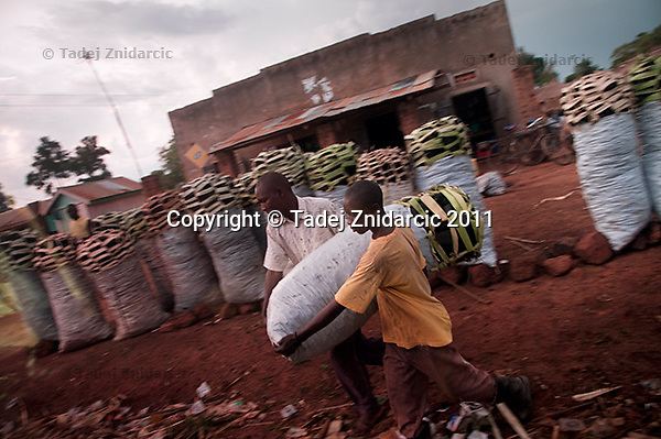 Men carry a sack of charcoal that is for sell by the side of the road in Lira District. After peace returned to northern Uganda people were free to start moving around and engage in business.