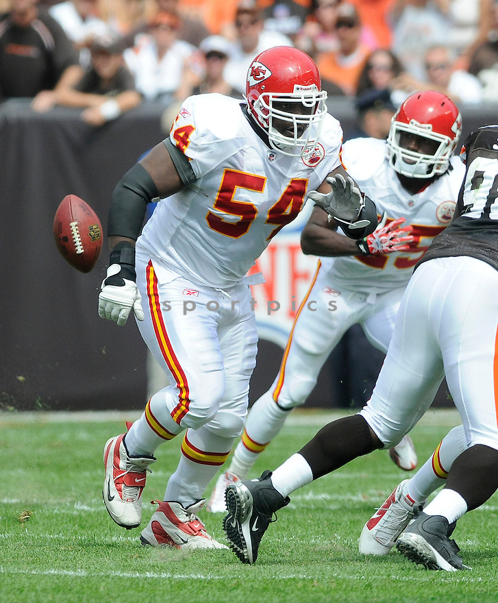 BRIAN WATERS, of the Kansas City Chiefs, in action during the Chiefs game against the Cleveland Browns on September 19, 2010 in Cleveland, Ohio...Chiefs win 16-14..SportPics