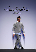 Lo stilista messicano Andres Caballero sulla passerella dopo la presentazione della collezione Autunno Inverno 2014-2015 di San Andres Milano durante la rassegna Altaroma, a Roma, 25 gennaio 2014.<br /> Mexican fashion designer Andres Caballero on the catwalk after presenting the San Andres Milano's Autumn Winter 2014-2015 collection at the Altaroma fashion week in Rome, 25 January 2014.<br /> UPDATE IMAGES PRESS/Isabella Bonotto