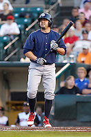 Lehigh Valley IronPigs designated hitter Jack Cust #43 during a game against the Rochester Red Wings at Frontier Field on August 18, 2011 in Rochester, New York.  Lehigh Valley defeated Rochester 11-1.  (Mike Janes/Four Seam Images)