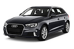 2019 Audi A3 Sportsportback Sport 5 Door Hatchback angular front stock photos of front three quarter view