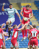 Kirill Kulemin of London Welsh beats Steve Mafi of Leicester Tigers to the lineout ball during the Aviva Premiership match between London Welsh and Leicester Tigers at the Kassam Stadium on Sunday 2nd September 2012 (Photo by Rob Munro)