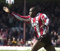 .Photo Peter Spurrier.06/04/2002.Nationwide Div 2.Brentford vs Huddersfield - Griffen Park:.Lloyd Owusa celbrates his first goal...