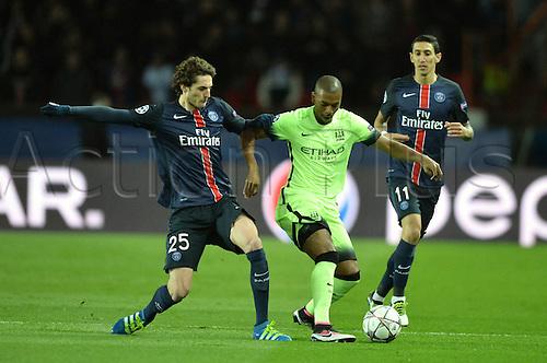 06.04.2016. Paris, France. UEFA CHampions League, quarter-final. Paris St Germain versus Manchester City.  ADRIEN RABIOT (psg) and Fernando Francisco Reges (mc)