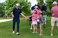 Joaquin Niemann (CHL) high fives young fans on his way to the tee on 3 during round 2 of the 2019 Charles Schwab Challenge, Colonial Country Club, Ft. Worth, Texas,  USA. 5/24/2019.<br /> Picture: Golffile   Ken Murray<br /> <br /> All photo usage must carry mandatory copyright credit (© Golffile   Ken Murray)